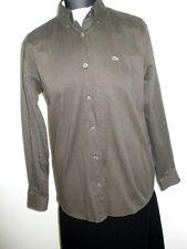 LACOSTE Damen Hemd Bluse Dunkel Grau-Oliv Gr. 40 Neu