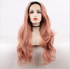 """24"""" Heat Resistant Lace Front Wig Synthetic Hair Wavy Ombre 1B/Smoke Pink"""