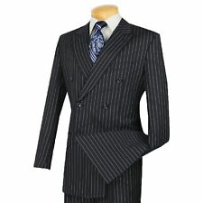 VINCI Men's Navy Blue Pinstripe Double Breasted 6 Button Classic Fit Suit NEW