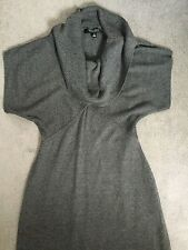 NINE WEST GREY KNIT DRESS WITH COWL NECKLINE & SHORT SLEEVES - SIZE S