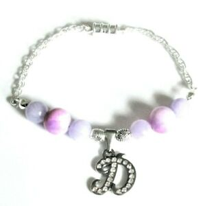 Magnetic Easy fit Gemstone *Initial* charm bracelet  ( supplied in a gift box)