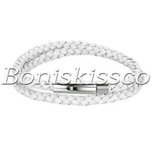 Men's Silver Stainless Steel Clasp Multi-layer Braided Leather Bracelet Bangle
