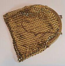 Vintage whiting & davis en métal doré maille sac de soirée cocktail sac à main sac à main