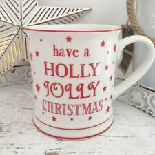 """Have A holly Jolly Christmas"" White Fine China Tea Coffee Mug Cup Great Gift"