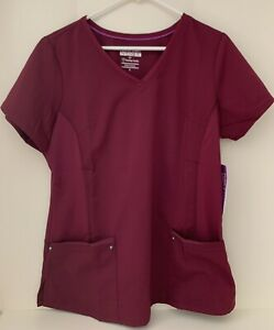 Women's  Large L Wine Juliet Purple Label Healing Hands Scrub Top NEW with Tags