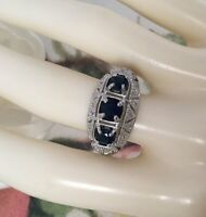 Vintage Jewellery Gold Ring Blue White Sapphires Antique Deco Jewelry 8 Q