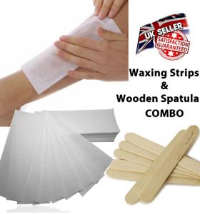 100 White Paper Strips Wax Waxing Leg Body Non Woven & 25x Wooden Spatula COMBO