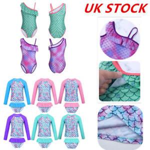 UK Toddler Girls Tankini Swimsuit Fish Scales Printed Tops+Bottoms Set Beachwear