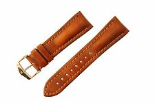 Hirsch Lucca Distressed Textured Leather Watch Band Strap Gold Brown 24mm 0490