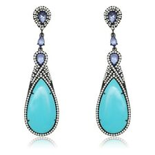 Solid 925 Sterling Silver Round Halo Black Plated Turquoise CZ Dangle Earrings