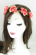 Coral Pink Rose Flower Headband Hair Crown Festival Garland Boho Elasticated 870
