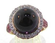 Crivelli ITALY 18 KT Rose Gold Pink Sapphire Diamond Amethyst Cabochon Ring 6.75