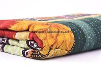 Vintage Kantha Quilt Indian Bedspread Handmade Blanket Cotton Bedding Twin Throw