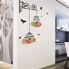 Hot Birdcage Vine Flower Bird Wall Decal Sticker Home Vinyl Decor Mural Art Hot
