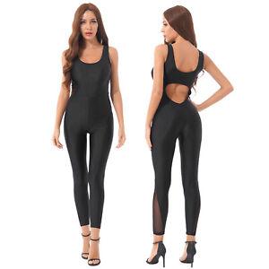 Women Pure Color Bodysuit Yoga Fitness Workout Jumpsuit U Neck Sleeveless Romper