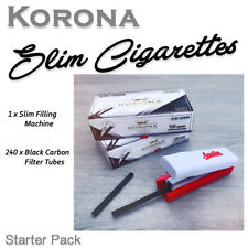 SET 240 Korona Slim Black Carbon Empty Cigarette Filter Tubes + Filling Machine