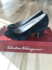 Salvatore Ferragamo Black Suede Pumps, Heel 2 3/4 Inch, Women Size 5