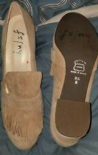 FS/NY Tan Suede Fringe Top Block Heel Loafers 9 1/2 B