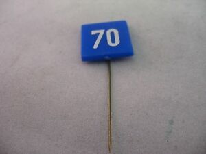 70 Blue White Road Sign Vintage Foreign Mens Hat Stick Pin Advertising