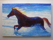 RIGINAL OIL PAINTING WINTER SNOW HORSES ART BY ARTIST