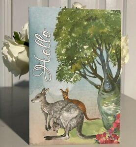 AUSTRALIAN - HANDMADE Card - HELLO from Australia, Hi, Kangaroo, Emu, Aussie