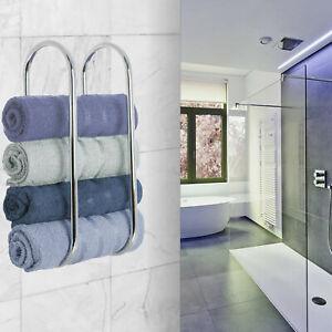 Wall Mounted Towel Holder Shelf Bathroom Storage Rack Rail Bar Stand