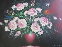 classic still life flowers roses large oil painting canvas original art flower
