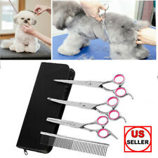 "7""Professional Pet Dog Grooming Scissors Set Straight&Curved&T hinning Shears Kit"