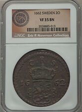 Sweden Carl Xi 1662 K.M. 2 Ore Ngc Vf35 Bn Very Scarce Large Ex.Newman Coll
