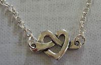 Silberfarben Liebe Herz Anhänger Anhänger Halskette Mit 50.8cm Lange Kette