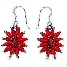 Designer-Ohrringe/Ohrhaken mit rotem Muschel-Perlmutt-925 Sterling Silber