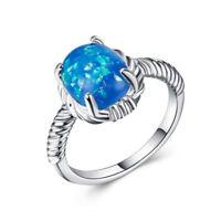 Elegant Women 925 Silver Jewelry Oval Cut Fire Opal Wedding Ring Size6-10