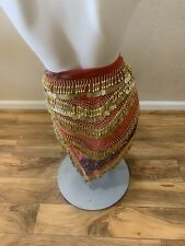 Beautiful Red Belly Dance Hip Scarf w/ Floral Design & Gold Coins & Beads