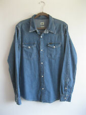LEE| Men's Classic USA Blue Denim Pearl Snap WESTERN Cowboy Festival Shirt | M