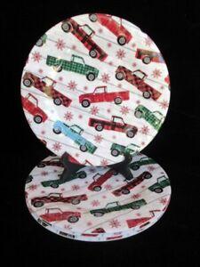 NWT Robert Stanley Heartland Holiday 4 Christmas Melamine Dinner Plates Plaid Tr