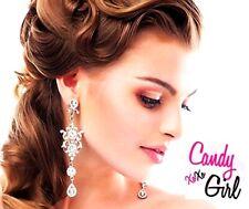 Luxury Silver Crystal Diamante Long Drop Rhinestone Bridal Evening Earrings
