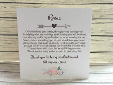 Personalised Vintage/Rustic 'Thank you for being my Bridesmaid' Card