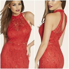 JESSICA WRIGHT SIZE 16 RED LACE & SEQUIN MAXI DRESS BNWT SISTAGLAM  /LIPSY /NEXT