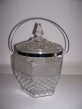 Vintage Anchor Hocking Wexford Heavy Cut Glass Ice Bucket With Lid Handle Jar
