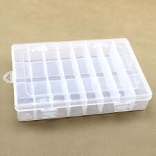 Transparent Plastique 24 Compartiments Boîte Stockage de Rangement pour Bijou