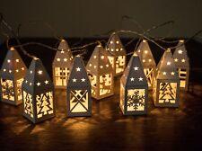 set of 10 white battery wooden christmas lantern lights