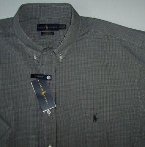 NWT Ralph Lauren 100% COTTON STRETCH Black/White MINI-CHECK Shirt 2XLT Polo Pony