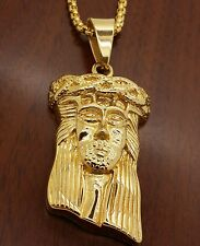 "Stainless steel  gold plated  Jesus face pendant + 24 "" long  chain necklac"