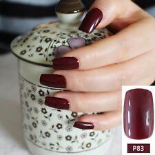 Dark Wine Red Fake Finger Nails Bent Flat Long Size Acrylic False Nails P83M