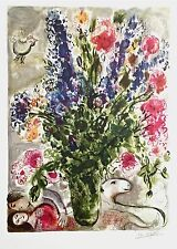Les Lupin Bleu, Limited Edition Offset Lithograph, Marc Chagall