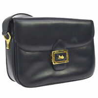 CELINE Horse Carriage Cross Body Shoulder Bag Navy Leather Authentic AK31737j