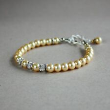 Vintage yellow pearls crystals silver wedding bridesmaid bridal beaded bracelet