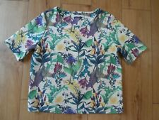 NEXT IVORY GREEN FLORAL & LEAF TUNIC SIZE 14