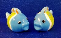 HAND PAINTED CERAMIC FISH SALT AND PEPPER SHAKERS - EXCELLENT CONDITION!