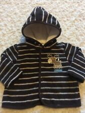 Little Wonders Boys Dark Brown White Striped Hooded Shirt Moose 0-3 Months